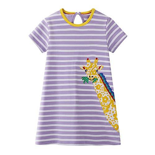 VIKITA Mädchen Sommer Herbst Streifen Baumwolle T-Shirt Kleid EINWEG JM6265 7T Mädchen Mode Kleid