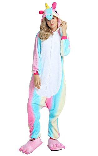 LazLake Pyjama Kostüm Jumpsuit Tier Overall Fleece Schlafanzug Unisex Fasching Cosplay Karneval Rainbow Blue M