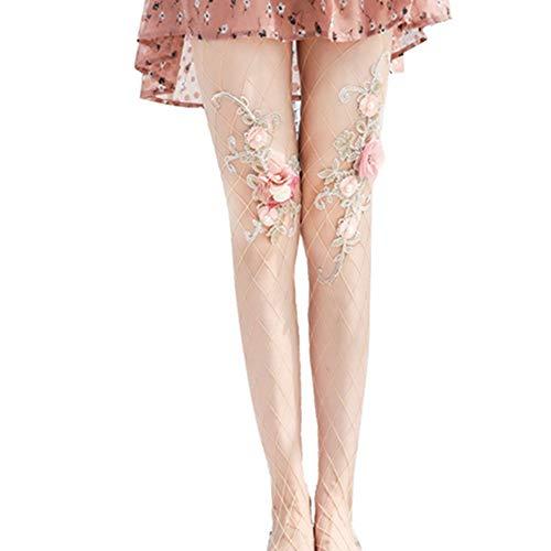 Egurs Netzstrumpfhose mit Handbestickte Blumen Frauen Nude Gamaschen Mode Persönlichkeit Strumpfhosen