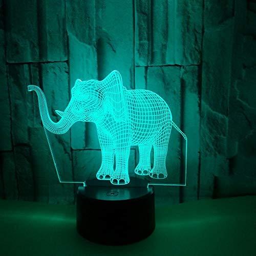 Lámpara 3D Con Forma De Elefante, Decoración Para El Hogar Del Dormitorio, Usb Touch 7 Color Lámpara De Sensor De Luz Nocturna Led Luces Visuales Lámparas De Mesa Juguete Para Niños Regalo