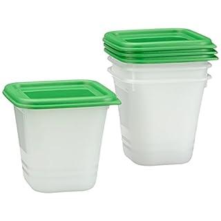Rotho Domino-Aromafeste Aufbewahrungsbox-4er Set Vorratsdose BPA-frei-Reinigung Spülmaschine-ideal für Babynahrung-0.22 l Inhalt pro Gefrierbox Gefrierdose, Plastik, Weiss/grün, 4X 0.22 l, 4-Einheiten