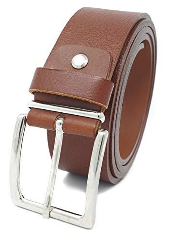 Xeira  - Cinturón de piel 4 cm de ancho - Piel auténtica - Cinturón para hombre y mujer - Fabricado en Alemania Natur Braun 120cm
