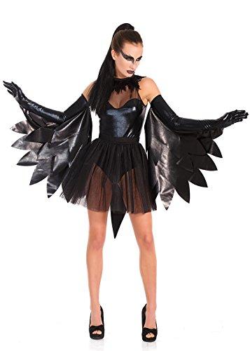 Halloween Gothik Kostüm RAVEN 5 Teile schwarzer Wetlook, als Rabe, Schwarzer Schwan, Ballerina (Ballerina Kostüm Teile)
