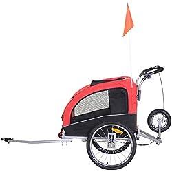 Homcom Remorque vélo Jogger 2 en 1 pour Animaux Drapeau Roue Avant pivotante réflecteurs et Barre d'attelage Inclus Rouge Noir