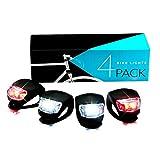 LED Fahrradlicht Set,SGODDE Fahrradbeleuchtung 2x Rot Beleuchtung 2x Weiß Leuchten Wasserdichte Taschenlampe Leistungspaket Silikonleuchtenset für Kinderfahrrads Mountainbikes Sicherheitsbeleuchtung