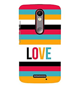 Fiobs Designer Back Case Cover for Motorola Moto X Force :: Motorola Moto X Force Dual SIM (Pink Orange Green Violet Band Love)