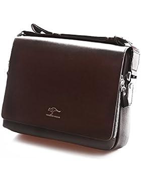 Foxnovo Herren horizontale PU Schultertasche Messengerbag - Größe L (schwarz)