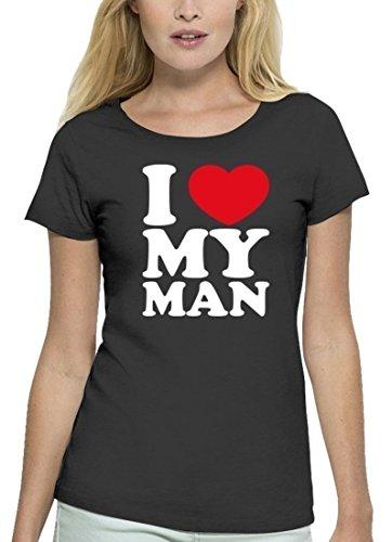 Valentinstag Premium Damen T-Shirt aus Bio Baumwolle I LOVE MY MAN Stanley Stella Anthrazite