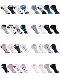 SG-WEAR - 12 pares de calcetines para niños y niñas, con alto porcentaje de algodón, en diferentes diseños, tallas 23-26, 27-30, 31-34, 35-38