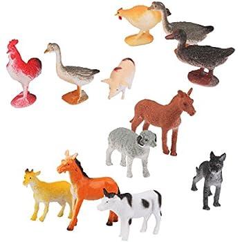 Lot de 12pcs Figurine Volaille en Plastique Modèle Animal Jouet Multi-couleur