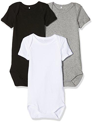 NAME IT Unisex Baby Körper Nbnbody 3P SS NOOS, 3er Pack, Mehrfarbig (schwarz,grau,weiß), 68