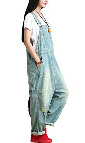 Voguees Damen Breite Beine Hosen Loose Fit Denim Jumpsuit Art 1 Hellblau