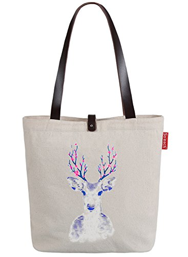 So'each Women's Animal Deer Flower Graphic Top Handle Canvas Tote Shoulder Bag Natural Color