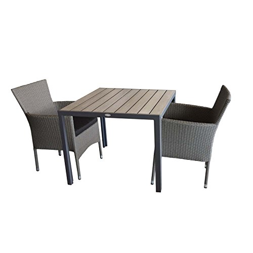 3tlg. Gartengarnitur Alu/Polywood Gartentisch 90x90cm + 2x stapelbare Polyrattan Sessel grau-meliert inkl. Sitzkissen schwarz Sitzgruppe Sitzgarnitur Gartenmöbel Terrassenmöbel Balkonmöbel Set