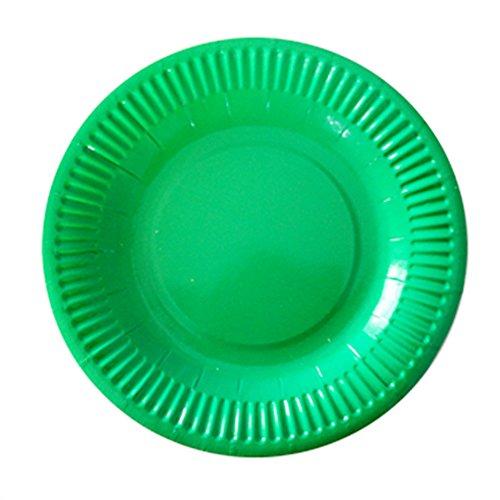 (Hacoly 10er rund Pappteller bunt einweggeschirr hochwertig Einwegteller eckig Papierbesteck umweltfreundlich biologisch abbaubar kompostierbar für kindergeburtstag Party Hochzeit - 7 Zoll Grün)
