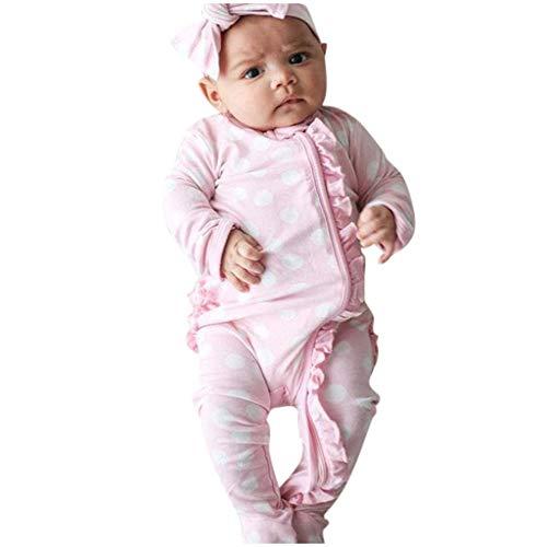 Footed Strampler für Baby Mädchen Jungen,TTLOVE Neugeborenes Unisex Sleeper Bodys Overall + Stirnband Schlafanzug Kleidung Schlafstrampler Playsuit Outfits Set(Rosa,90) - Fleece Baby Sleeper