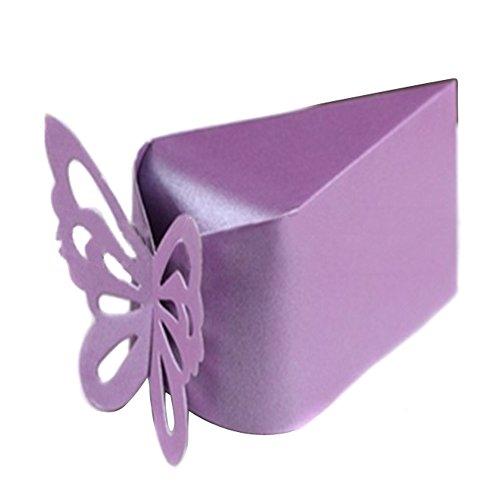 TININNA 10 pz bomboniera matrimonio accessorio Candy Box Cake Style per Festa di nozze per il neonato regalo di Natale scatole Custodia(viola)