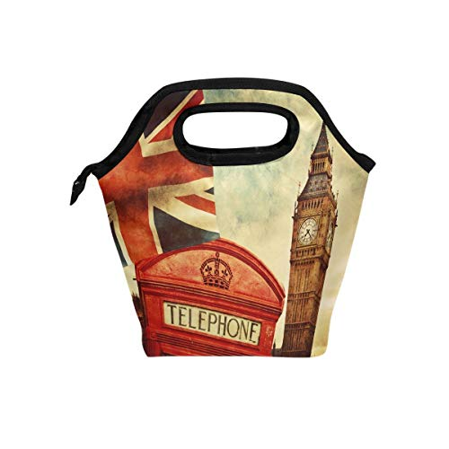 London Payphone Big Ben Isolierte Thermal Lunch Kühltasche Tote Bento Box Handtasche Lunchbox mit Reißverschluss für Schulbüro Picknick ()