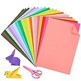 auihiay Konstruktion Papier Origami Papier doppelseitig leicht Papier A4Farbiges Papier 20Farben 60Blatt und 1-teilig, Kunststoff Sicherheit Schere für Kunst und Handwerk