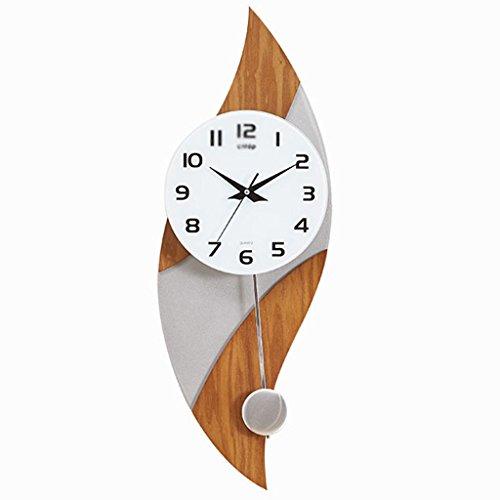 Horloges Salle de Chêne Bois Argent Murale en Bois Salon Mute 12 Pouces