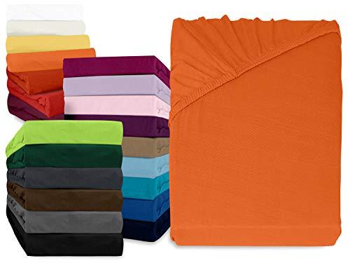 npluseins klassisches Jersey Spannbetttuch - erhältlich in 34 modernen Farben und 6 verschiedenen Größen - 100% Baumwolle, 90-100 x 200 cm, terrakotta