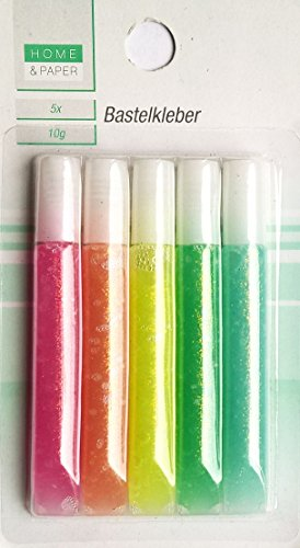 HOME & PAPER 5 Bastelkleber in Pastellfarben - 10 g Glitterkleber je Tube/Farbe ^