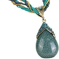 DELEY Retro hecho a Mano Antiguo Sueño de Gota de Lágrima Bohemio Ópalo Colgante del Collar de la Declaración De Color Verde Oscuro