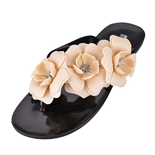 Price comparison product image SODIAL(R) Summer style shoes for women Slippers New Flip Flops Women Sandals Female Sandals flower jelly sandals slippers black US9.5=EUR41=length 25.5CM