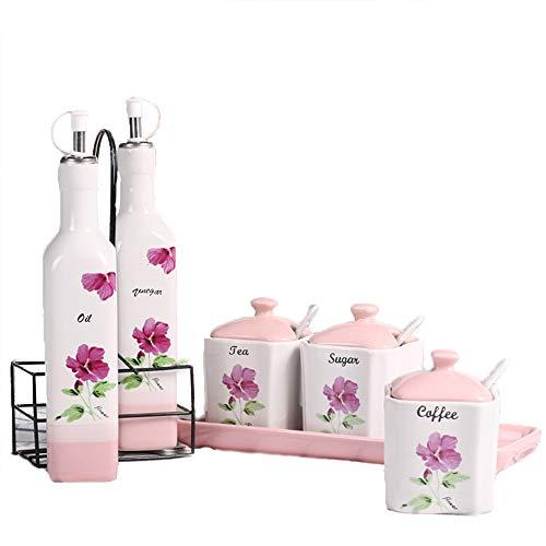 Tägliche Bedarfsartikel Gewürzbox Haushaltskeramik Gewürzflasche Aufbewahrungsbox Kombination Laden Flasche Gewürzglas Set,F-OneSize