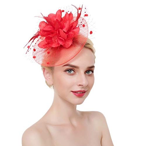 DQANIU ❤️❤️ Damen Kopfbedeckung, Mode Mesh Bänder Federn Stirnband Cocktail Tee Party Hut Kopfbedeckung Hochzeit Haarschmuck