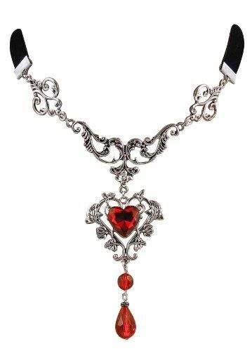Schwarzen Kropf (Eleganz Trachtenschmuck Dirndl Kropfband Kropf-Kette Gothic Collier ornamental schwarzer Samt - rote Steine)
