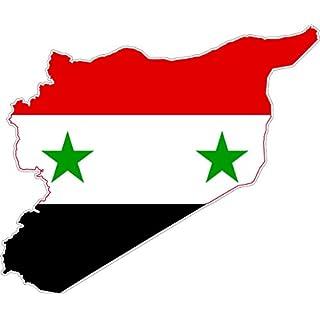 Akacha Aufkleber, aus Vinyl, Motiv: syrische Flagge auf Umriss Syriens