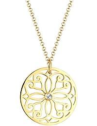 Goldhimmel Damen-Halskette Ornament Münze vergoldet 925 Silber Swarovski  Kristall weiß Brillantschliff - 0110880214 70 cdfce0008b