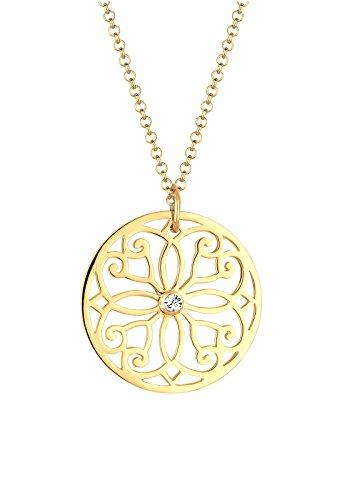 Elli Damen-Halskette Ornament Münze vergoldet 925 Silber Swarovski Kristall weiß Brillantschliff - 0110880214_70