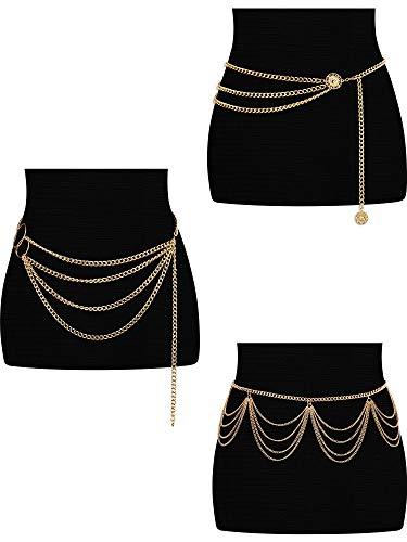 Hicarer 3 pezzi vita catena da pancia multi-strato in metallo catena vita corpo estate spiaggia gioielli per donne e ragazze (stile nappa)
