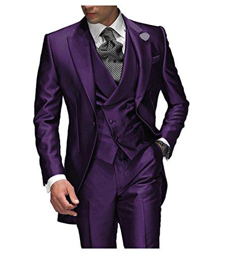 Suit Me Tailored Men Suit 3 piezas de traje de chaqueta de smoking chaqueta de la boda, chaleco, pantalones Morado 4XL