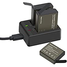 GeeKam Batería de la cámara de acción Batería Recargable de 3 x 1050 mAh con alimentación