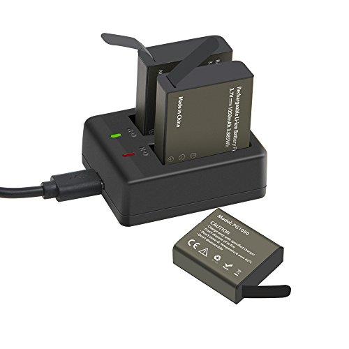GeeKam Action Kamera Akku Power 3x1050mah Wiederaufladbare Dual USB Ladegerät Digitalkamera Zubehör Akku für Unterwasser Wasserdichte Sport Cam Camcorder Wifi 4 Karat 1080 P HD Fernbedienung Kameras