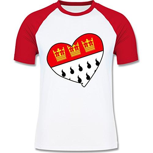 Shirtracer Karneval & Fasching - Köln Wappen Herz - Herren Baseball Shirt Weiß/Rot