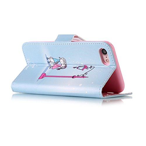 Voguecase Pour Apple iPhone 7 4,7 Coque, Étui en cuir synthétique chic avec fonction support pratique pour iPhone 7 4,7 (crâne 06)de Gratuit stylet l'écran aléatoire universelle kiss me 01
