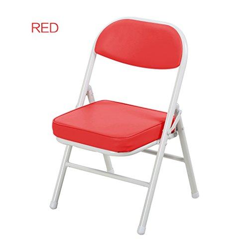 Chaise Pliante de Couleur des Enfants Chaise en métal portative de bébé Enfant apprenant la Petite Chaise (Color : Red)