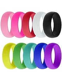 Bande d exercice en silicone pour alliances Couleurs vives 8mm unisexe  anti-dérapant bagues en silicone… 33207f5397f