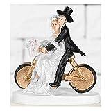 jakopabra Hochzeits - Deko - Figur sportliches Brautpaar Torten- oder Tischdeko (Brautpaar auf dem Fahrrad)