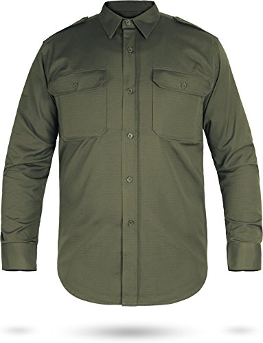 normani Army Feldhemd Freizeithemd Langarm Rip-Stop [XS-3XL] Farbe Oliv Größe M