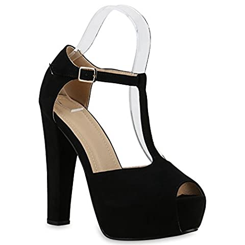 Damen Sandaletten Plateau Blockabsatz High Heels Schuhe 129593 Schwarz Riemchen 38   Flandell® (Schwarze Riemchen-plattform)