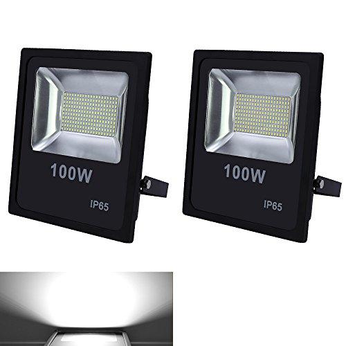 VINGO® 2X 100W LED Fluter Spot Scheinwerfer Wandstrahler Objektbeleuchtung Aussen 6000LM Flutlicht 230V SMD Baulicht Leucht IP65 Kaltweiß