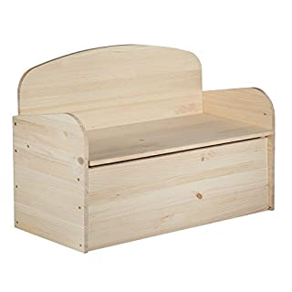 Astigarraga Solid Pine Chest Bench without Varnish, 90x 62x 38cm