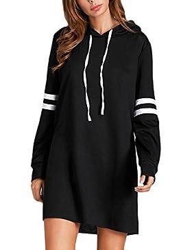 Las Mujeres Sudaderas Vestidos Con Capucha Cortos Deporte Vestido Rayas Elegantes Sweatshirt Encapuchado Vestir...