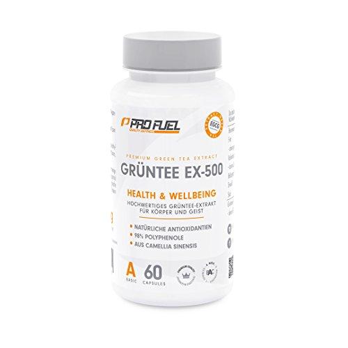 PROFUEL Grüntee EX-500 | 500mg hochwertiges Grüner-Tee-Extrakt pro Kapsel aus Camellia Sinensis | Mit 98% bioaktiver Polyphenole, EGCG und Antioxidantien | 60 vegane Kapseln