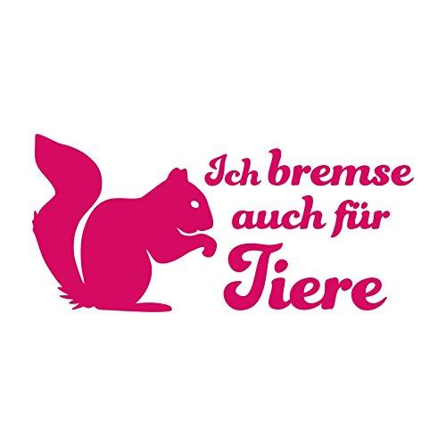 Folistick Ich Bremse auch für Tiere Aufkleber Eichhörnchen Autoaufkleber (PINK)